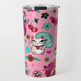Lucky Cat Maneki Neko , Dragons and Koi fish On Pink Travel Mug