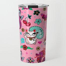 Lucky Cat Maneki Neko , Dragons and Koi fish On Pink Travel Mug