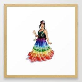 Janelle Monae Rainbow Dress Framed Art Print