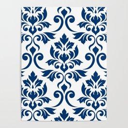 Feuille Damask Pattern Dark Blue on White Poster