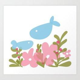 Happy fish in their garden Art Print