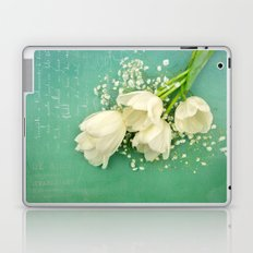 French White Tulips and Baby's Breath Flowers Bouquet Spring Botanical 2015 Laptop & iPad Skin
