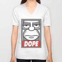 homer V-neck T-shirts featuring Dope Homer by MaNia Creations