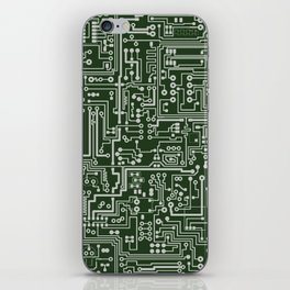 Circuit Board // Green & Silver iPhone Skin