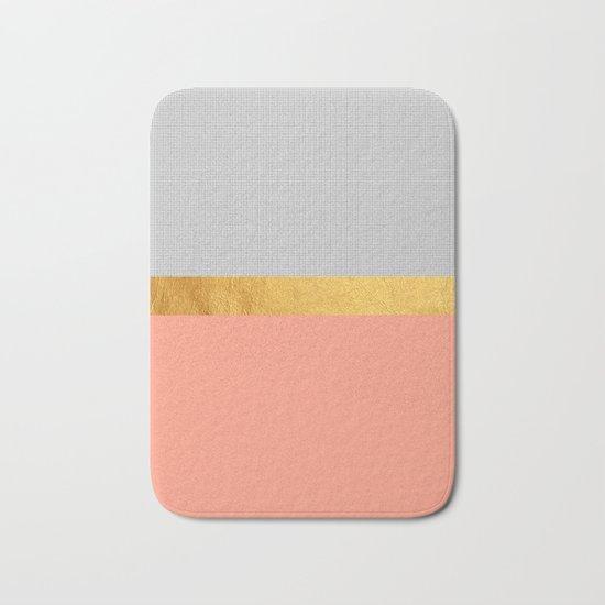 Minimalist Fashion Peach Pink Gold Squares Bath Mat By