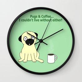Pugs and Coffee Wall Clock