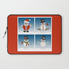 Cute Snowmen with Ornaments, Candy Cane and Strand of Lights Laptop Sleeve