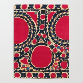 Tashkent Uzbekistan Central Asian Suzani Embroidery Print Poster
