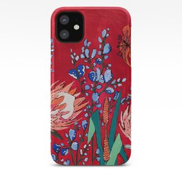 Red and Blue Floral with Peach Proteas iPhone Case