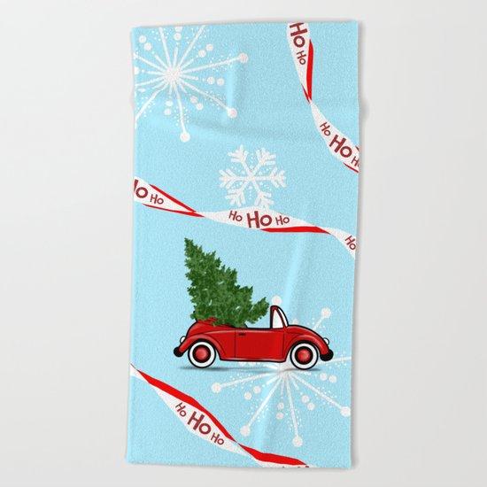 Convertible Beetle Christmas Design ! Beach Towel