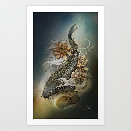 Koi and Lotus Art Print