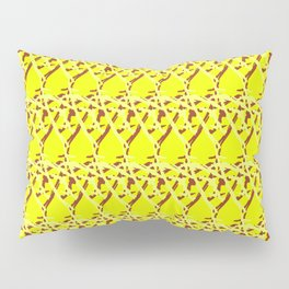 Braided diagonal pattern of wire and light arrows on a gold background. Pillow Sham