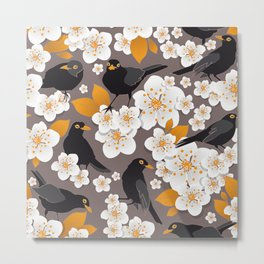 Waiting for the cherries II // Blackbirds brown background Metal Print