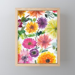 dahlias and chrysanthemums Framed Mini Art Print