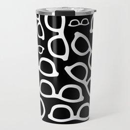 Smart Glasses Pattern - White on Black Travel Mug