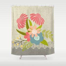 Flower Bouquet Lace Burlap 1 Shower Curtain