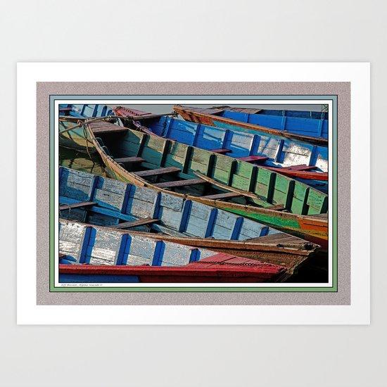 COLORFUL CANOES ALONG PHEWA LAKE SHORELINE POKHARA NEPAL Art Print