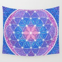 flower of life Wall Tapestries featuring Starry Flower of Life by Elspeth McLean