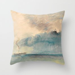 """J.M.W. Turner """"A Paddle-steamer in a Storm"""" Throw Pillow"""