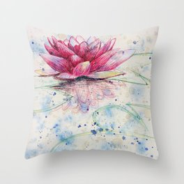 beauTEAful blooms: Water Lily Throw Pillow
