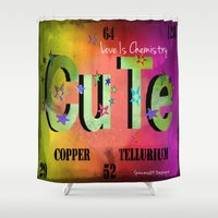 chemistry Shower Curtains featuring Love Is Chemistry by Wired Circuit