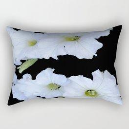 White Garden Petunia Flowers On Black Art Rectangular Pillow