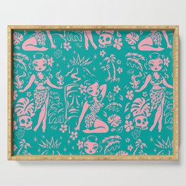 Tiki Temptress in Pink and Turquoise Serving Tray
