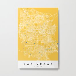 Las Vegas Map Nevada | Yellow & Blue | More Colors, Review My Collections Metal Print