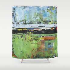 Salvation Green Abstract Contemporary Artwork Painting Shower Curtain