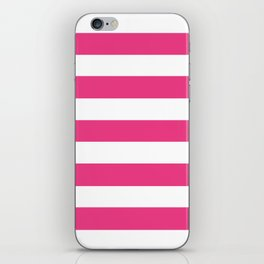 Cerise pink - solid color - white stripes pattern iPhone Skin
