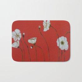 Asian White Poppies Bath Mat