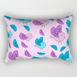 Birds in blue and pink Rectangular Pillow