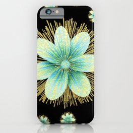 Gold Blue Black Flowers Floral Pattern iPhone Case