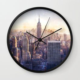 New York City Watercolor Skyline Wall Clock