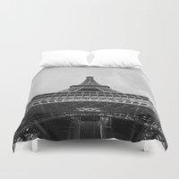 eiffel tower Duvet Covers featuring Eiffel Tower by Evan Morris Cohen