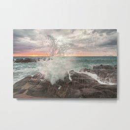 Crashing waves at sunset Metal Print