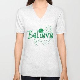 BELIEVE - green stars Unisex V-Neck