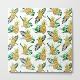 Summer tropical green yellow pineapple leaves watercolor floral Metal Print
