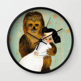 Princess Leia and Chewbacca painting by tascha parkinson Wall Clock
