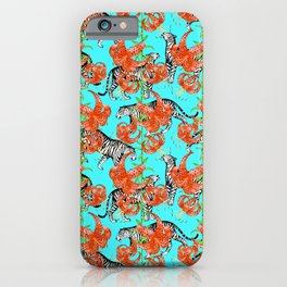 Tigers and Tiger Lilies (Blue Background) iPhone Case