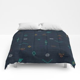 Cactus Silk Pattern in Navy Blue Comforters