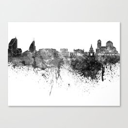 Sofia skyline in black watercolor on white background Canvas Print