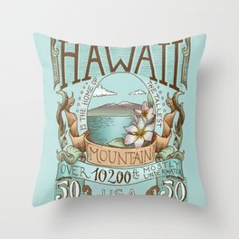 Hawaii Vintage Postage Stamp Throw Pillow