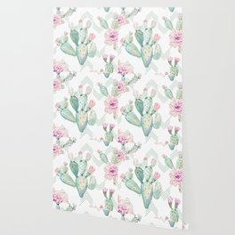 Cactus Chevron Southwestern Watercolor Wallpaper