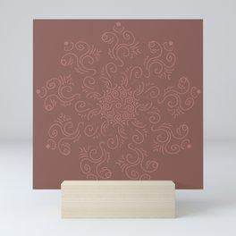 Maroon mandala Mini Art Print