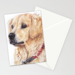 Golden retriever colored pencil drawing Stationery Cards