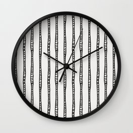Abstract Sketched Stripes in Black and Cream Wall Clock