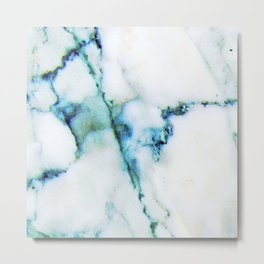 White marble with blue accent Metal Print