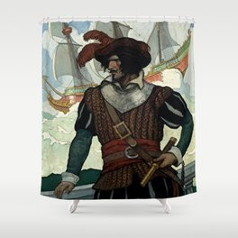"""""""Pirate"""" Book Cover by NC Wyeth Shower Curtain"""