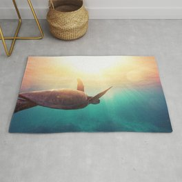 Sea Turtle - Underwater Nature Photography Rug